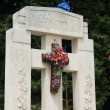 French gravestone with ceramic flowers — Stockfoto