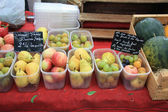 Different sorts of fruit on French market — Stock Photo