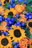 Sunflower arrangement in blue and yellow — Stock Photo