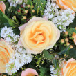 Soft orange rose and syringa in flower arrangement — Stok fotoğraf