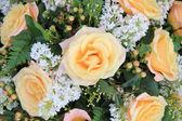 Soft orange rose and syringa in flower arrangement — Stock Photo