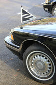 Front detail of a black hearse — Stock Photo