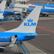 March, 24th Amsterdam Schiphol Airport planes on the gate, platf — Lizenzfreies Foto