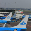 March, 24th Amsterdam Schiphol Airport planes on gate, platf — Stock Photo #9729843