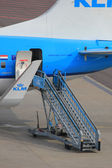 March, 24th Amsterdam Schiphol Airport airplane detail of rear e — Stock Photo