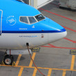 March, 24th Amsterdam Schiphol Airport airplane waiting on the g — Stock Photo