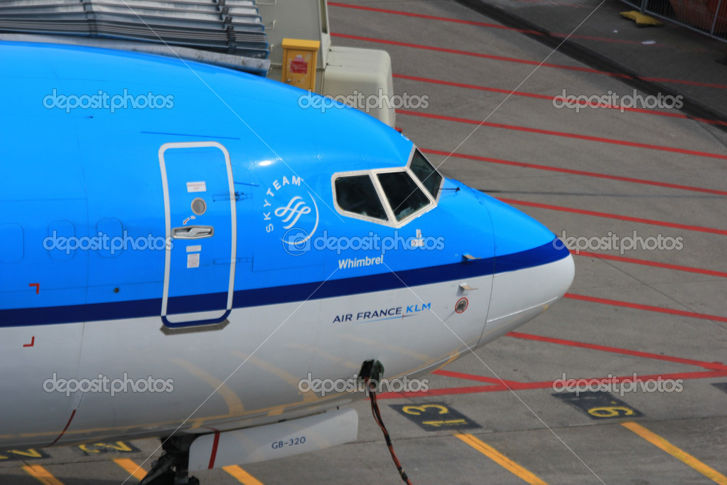 March, 24th, Amsterdam Schiphol Airport the Netherlands: Airplane waiting on the gate, connected with electricity cable to get power  Stock Photo #9730738