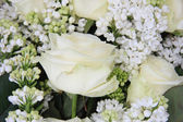 Detail of a white bridal bouquet — Stock Photo