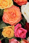 在明亮的颜色的玫瑰花束 — 图库照片