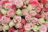 Pink roses bridal flower arrangement — Stock Photo