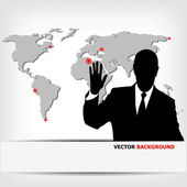 Businessman silhouette with world map — Photo