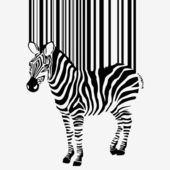 Abstract vector zebra silhouette with barcode — Stock Photo