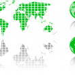 The vector green world map and globe — Stock Photo #8412061
