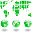 The vector green world map and globe — Stock Photo