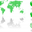 The vector green world map and globe — Stock Photo #8412117