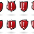 Stock Vector: Set vector red shield