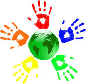 The vector green globe and color hands — Stock Vector