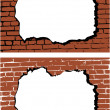 The vector brick wall with hole — Stock Vector