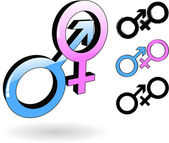 The vector male and female symbol — Stockvector