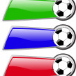 The vector color soccer banner set — ストック写真