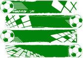 The green vector banner soccer balls — Stock Photo