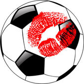 The vector soccer ball with lips — Foto de Stock