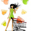 The vector shopping girl — Stock Vector