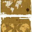 The vector retro grunge world map set - Stock Vector