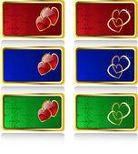El día de san valentín vector tarjetas de juego — Vector de stock