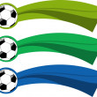 The vector color soccer banner set — Stock Vector
