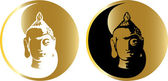 The vector gold buddha — Vector de stock