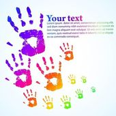 The vector hand print abstract color background eps 10 — Vector de stock
