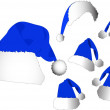 The vector blue santa hat set — Stock Vector