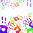 Stock Vector: Colorful Hand Prints Background