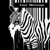The abstract vector zebra silhouette with smudges barcode — Stock Vector