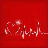 Vit hjärta slår elektrokardiogram på röd bakgrund — Stockvektor