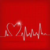 White Heart Beats Cardiogram on Red background — Vettoriale Stock