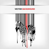 Abstract vector zebra silhouette with barcode — Stock Vector
