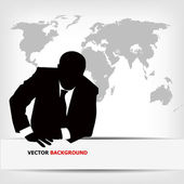 Businessman silhouette with world map — Stok Vektör