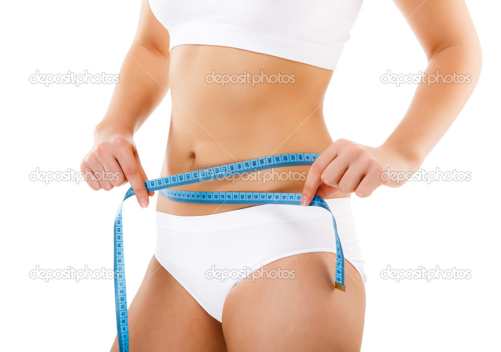 Woman measuring her slim body — Stock Photo #10117186