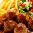 Roasted meatballs, French fries and vegetable salad — Stock Photo #10149993