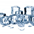Ice cubes isolated on white background — Stock Photo