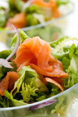 Salad - smoked salmon with vegetables — Stock Photo