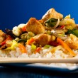 Asian food - chicken with vegetables and rice — Stock Photo #8406807