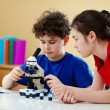 Kids examining preparation under the microscope — Stock Photo #8764771
