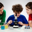 Kids examining preparation under the microscope — Stock Photo #9543582