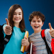 Students showing OK sign on blue background - Stock Photo
