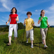 Nordic walking - active family outdoor — Stock Photo