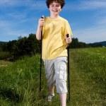 Nordic walking - active boy outdoor — Stock Photo