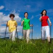 Стоковое фото: Nordic walking - active family outdoor